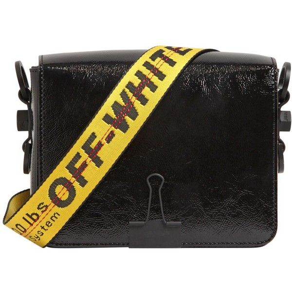 Off White Women Binder Clip Patent Leather Shoulder Bag ($1,158) ❤ liked on Polyvore featuring bags, handbags, shoulder bags, black, shoulder bag purse, shoulder hand bags, strap purse, champagne handbag and patent leather purse