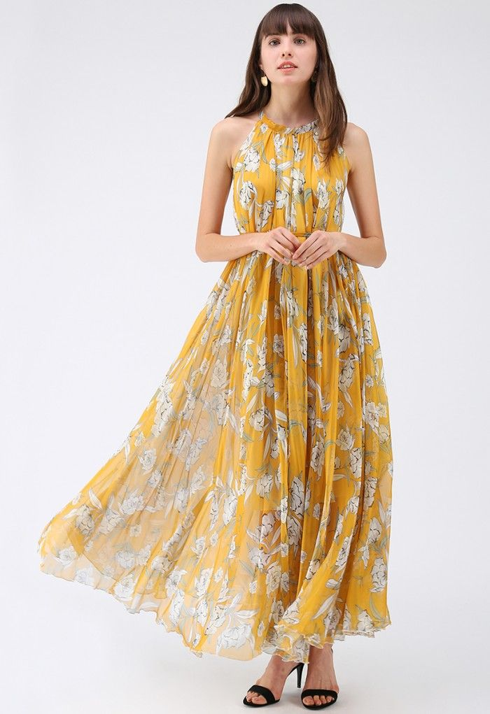 2905e153c35055 Flower Season Chiffon Maxi Slip Dress in Yellow - Retro, Indie and Unique  Fashion