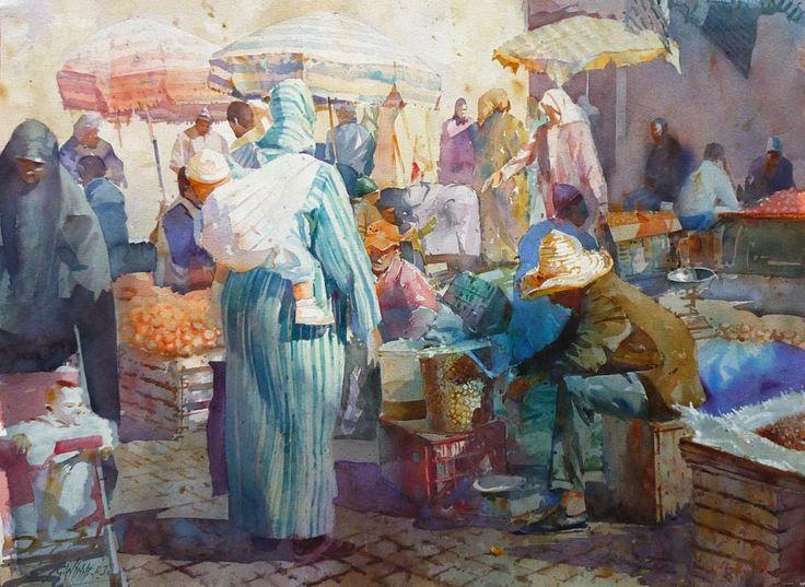 Geoffrey+Wynne+morocco+market+watercolour+mercado+marruecos+acuarela.jpg (850×621)