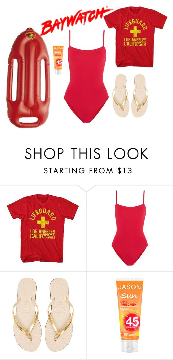 """""""Hurry up, Baywatch is On"""" by sassyladies ❤ liked on Polyvore featuring Eres and Havaianas"""