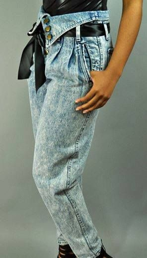 Perfect example of acid washed Z. Cavaricci jeans with ribbon belt from the 80s.