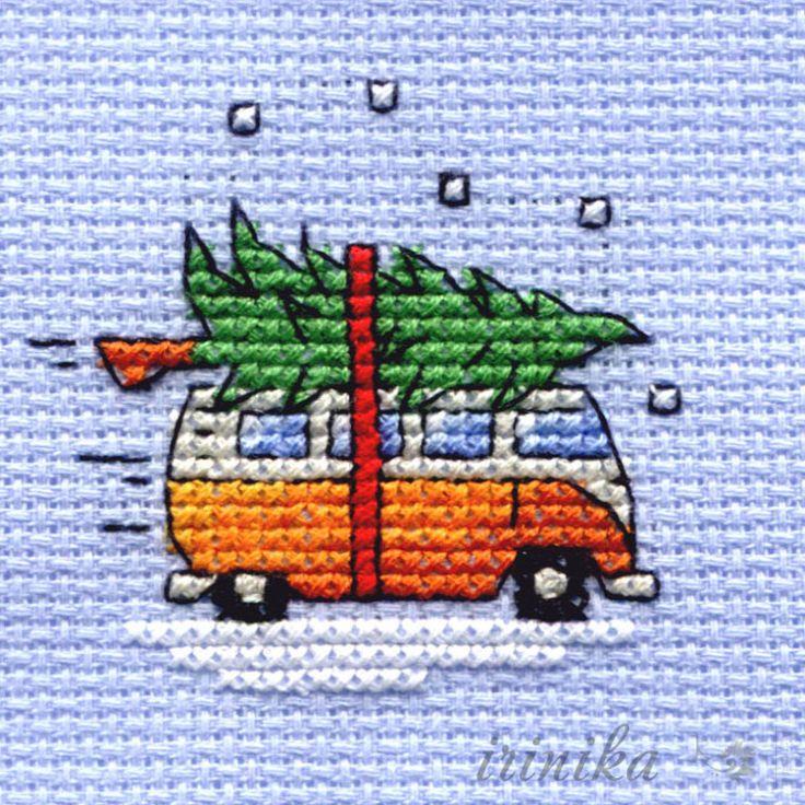Taking the tree home - on a VW camper van - mini Xmas X-stitch