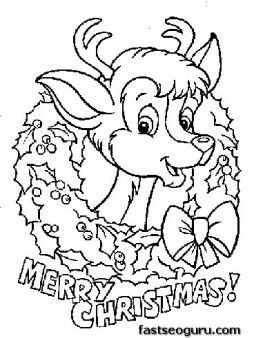 printable coloring pages of merry christmas reindeer baby face printable coloring pages for kids