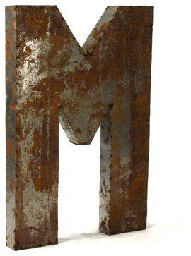 """Metal Letter 'M' transitional-sculptures- use paper mâché letter and """"rust"""" technique."""