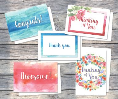 'Thinking of You' Greeting card pack includes five cards featuring soft watercolour wash illustration.