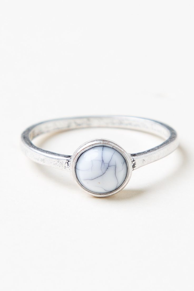 Brandy ♥ Melville | Small Marble Stone Ring - Jewelry - Accessories