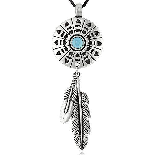 Gioielli Llords | Collana con Ciondolo Piuma Ispirato agli Indiani Nativi Americani, Moschettone Placcato Argento, Elegante Gioiello in Peltro