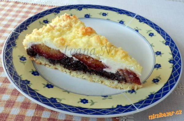 Křehký koláč s mákem, tvarohem a švestkami Mléko s cukrem…