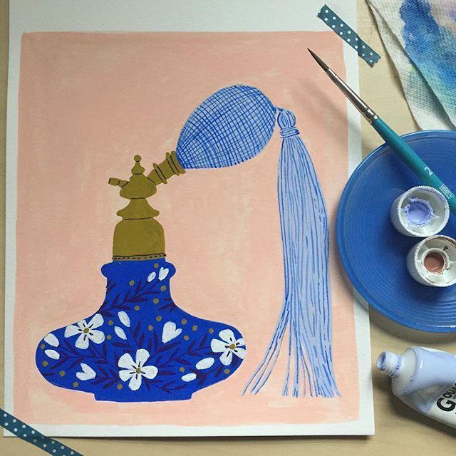 Vintage Perfume Atomizer in cobalt #TaraLilly #taralillystudio #vintageperfume  #gouache