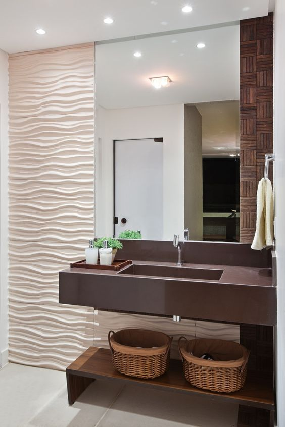 Decor: Banheiros com revestimento 3d