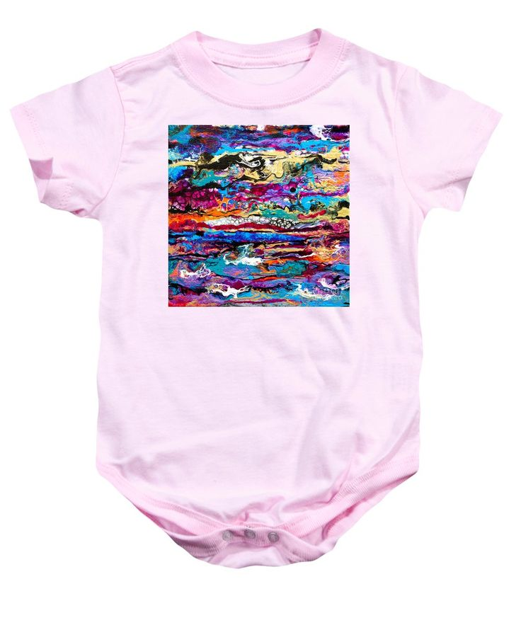 Original Fun Bright Vibrant Colorful Stripes Dynamic Pattern Happy Colors Dynamic Contemporary Fluid Acrylic Painting Baby Onesie featuring the painting #521 Bright Swipe by Expressionistart studio Priscilla Batzell