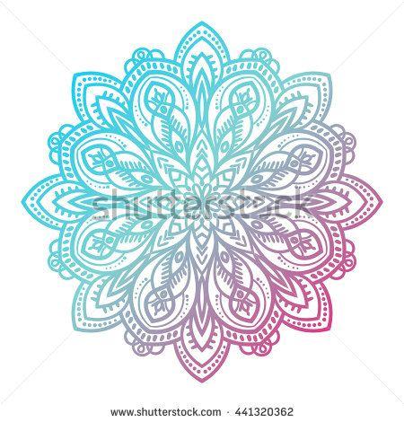 Flower mandala. Vintage decorative element. Ornamental round doodle flower isolated on white background. Geometric circle element. Vector illustration.