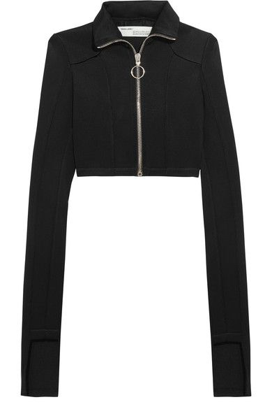 Off-White - Cropped Stretch-knit Top - Black - x small