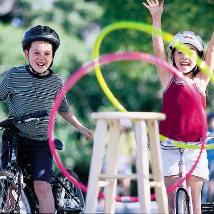 Bike RodeoSummer Idea, Party Games, Summer Games, Hula Hoop, Families Activities, Rodeo Games, Bike Rodeo, Families Fun, Outdoor Games