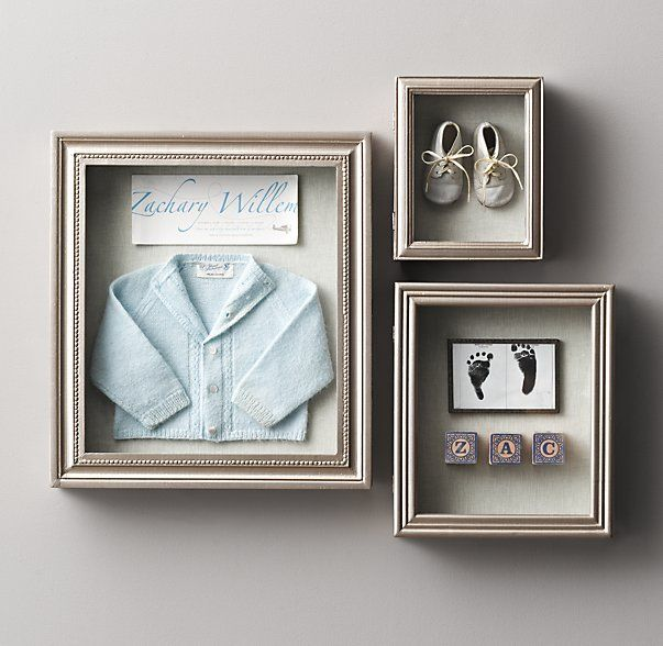 Antiqued Pewter Wood Shadow Box. Rh baby and child.