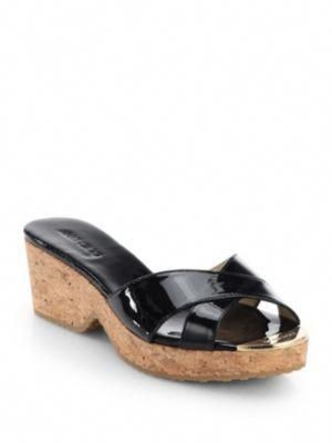0421aac5ca54 JIMMY CHOO Panna Patent Leather Cork Wedge Slides.  jimmychoo  shoes  slides