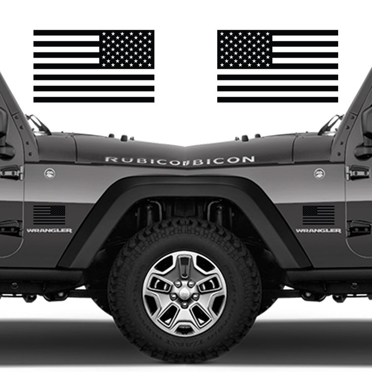 """Subdued American Flags Tactical Military Flag USA Decal JEEP 5""""x3"""" Pair (Matte Black)"""