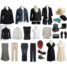 , Capsule Wardrobe, Black And White, Plus Size Travel Outfits, Size ...