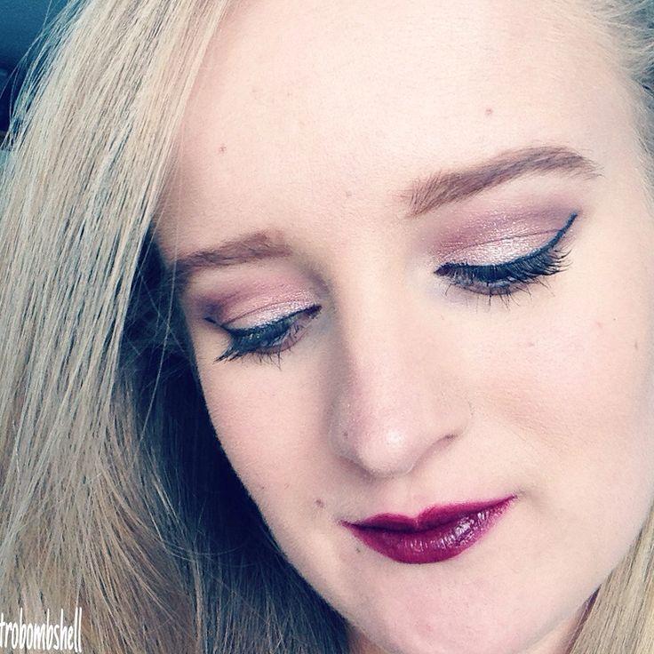 Eyes: Iconic 3 Makeup Revolution. Avon Gel Eyeliner. L'oreal Miss Manga Mascara  Lips: Avon ultra colour lipstick in Vixen