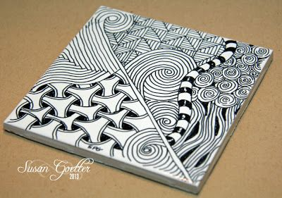 Zentangle on a ceramic tile