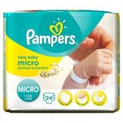 Pack 24 couches Pampers New Baby micro Taille 0 Newborn (de 1 kg à 2,5 kg).