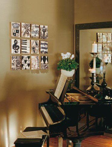 Love this idea for a music room/area someday, maybe I'll add some composer's portraits too. To keep in mind... #music #decoration
