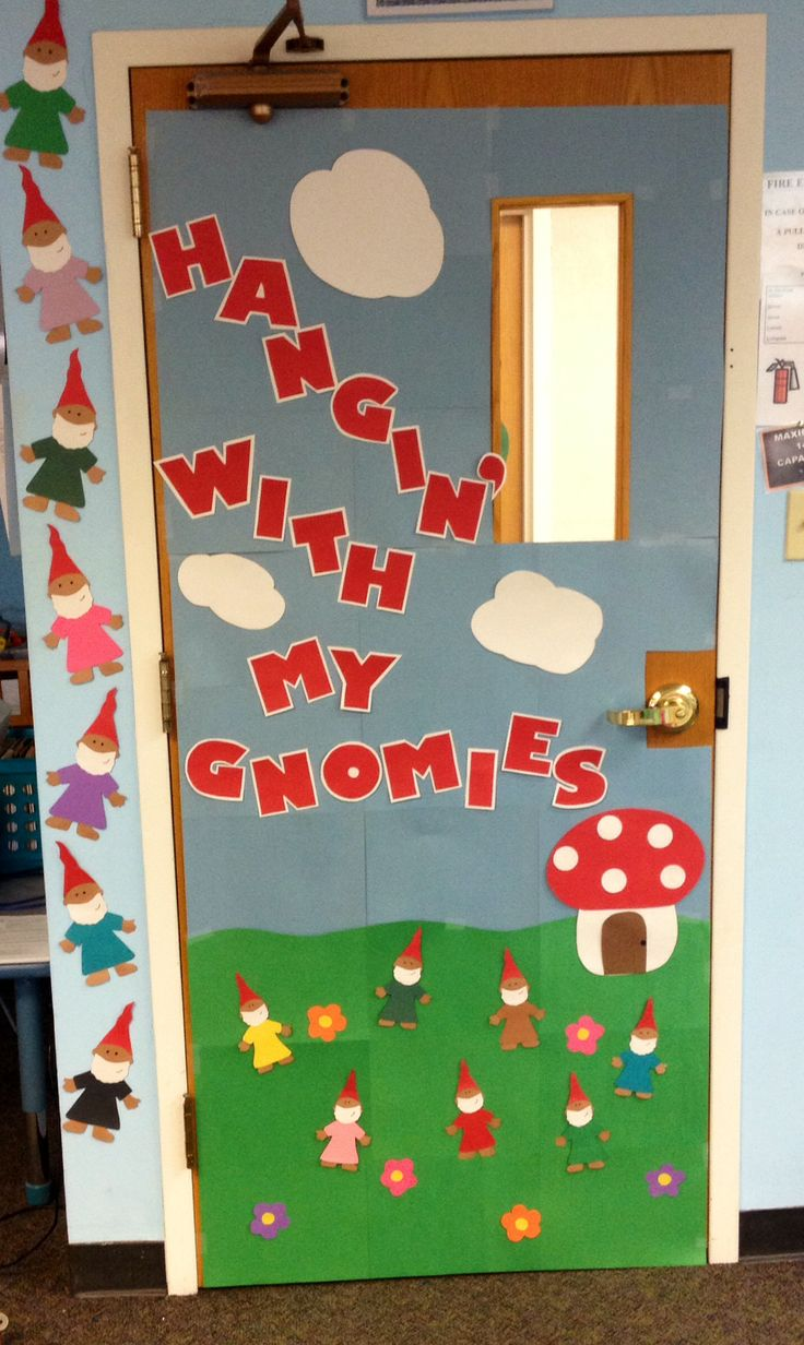 School Door Decoration Gnomes Spring Summer Flowers