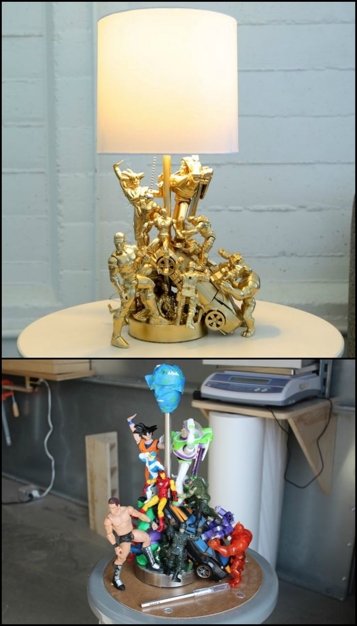 re-purposed toys + lamp kit: http://diyprojects.ideas2live4.com/2016/03/15/how-to-make-an-action-figure-lamp/