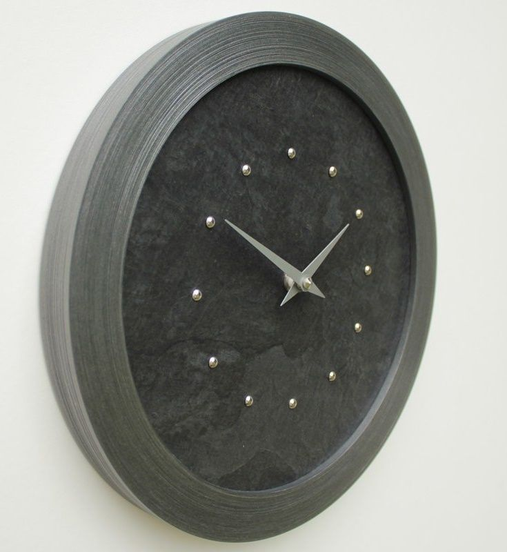 Black Slate Faced Wall Clock with Silver Studs and Hands in a Pewter Coloured Frame
