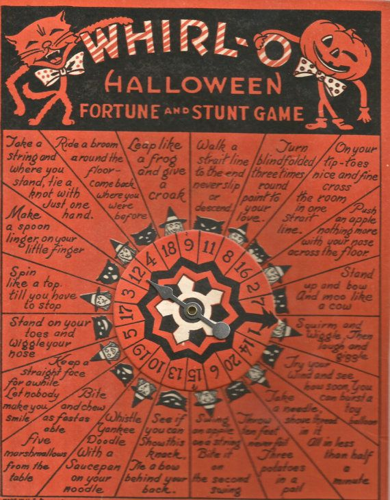 Vintage Whirl-o Halloween Fortune and Stunt Game cat JOL game digital download printable image 300 d