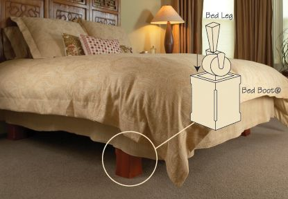 Bed with Bed Boots, designed to cover the legs of metal bed frames for a platform look, eliminating the need for old-fashioned bed skirts without actually buying a new platform bed! Must also upholster the box springs.