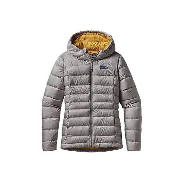 Women's Patagonia Hi-Loft Down Sweater Hoody - Drifter Grey Jackets (915 BRL) ❤ liked on Polyvore featuring activewear, patagonia and patagonia sportswear