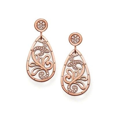 Thomas Sabo Rose Gold Plated CZ Floral Teardrop Earrings