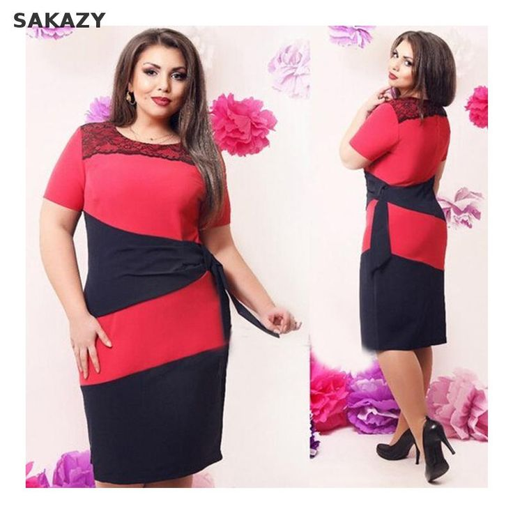 Sakazy L-6xl Big Size Lace Patchwork Women Dress  Casual Plus Size Women Clothing Knee-length Dress Fat Mm Fashion Elegant Party