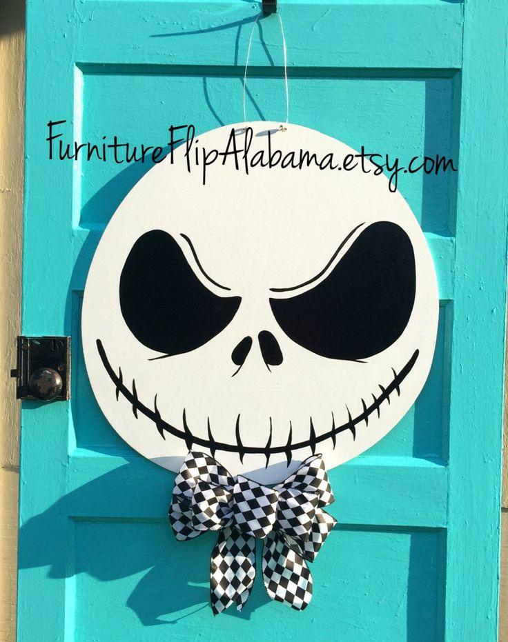 Halloween door hanger,Jack Skellington wreath,Skeleton door hanger,Jack Skellington door hanger,halloween wreath, fall wreath by Furnitureflipalabama on Etsy