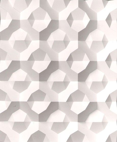 For pattern, structure & CMF trends visit www.chameo-design.com/trendresearch/ and follow @CHAMEODESIGN on Pinterest I Hexagon, ceramics, white, shadow, textures, structures, finishes