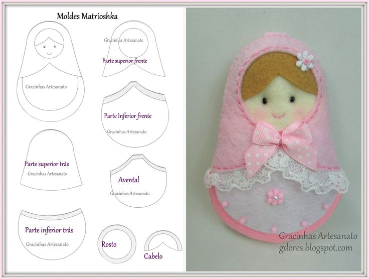 Oh, I am SO happy to share this pattern with you....I've never seen a pattern for these adorable dolls !  They are one of my favorites !  Matrioshka: Molde e Passo-a-Passo | Gracinhas Artesanato