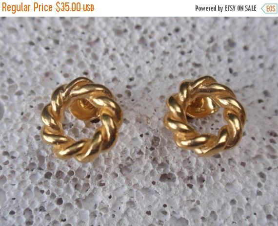 SALE 10% OFF gold studs open twisted circle stud by preciousjd
