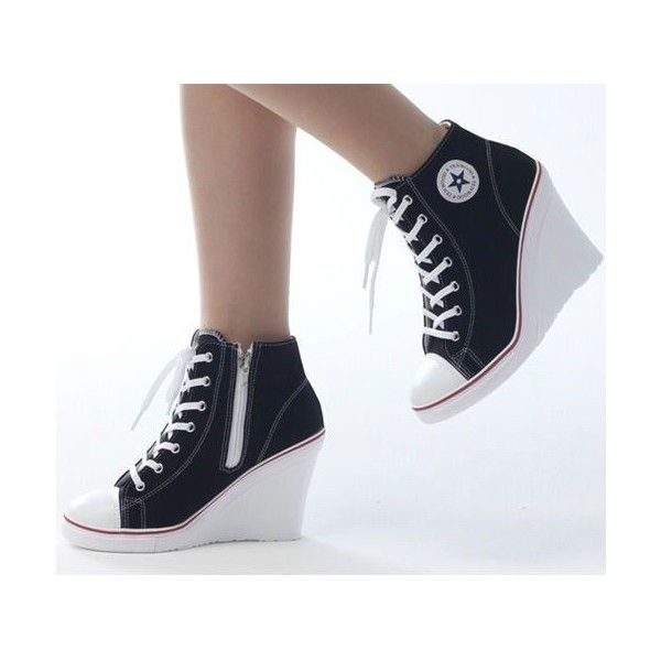 Wedges Trainers Heels Sneakers Platform High Top Ups Zip Boots... ❤ liked on Polyvore featuring shoes, sneakers, platform sneakers, zipper sneakers, converse high tops, high top sneakers and platform shoes
