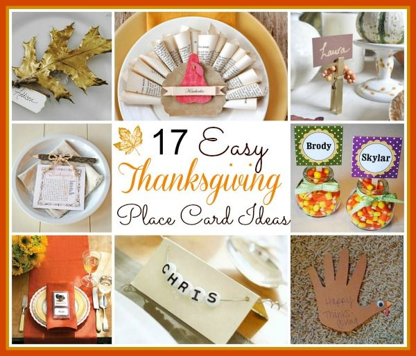 17 Diy Thanksgiving Place Card Ideas Thanksgiving
