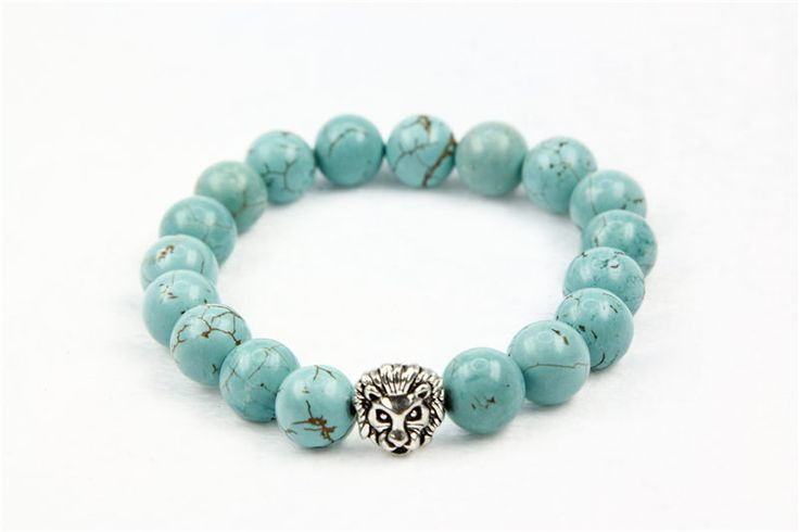2016 new fashion women blue turquosie beads bracelets handmade stone beads with silver lions heads 5 pis/lot drop shipping