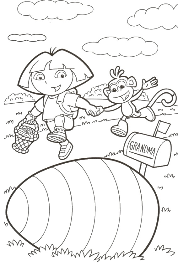 Dora The Explorer Easter Color Page Print Your Coloring Pages Free