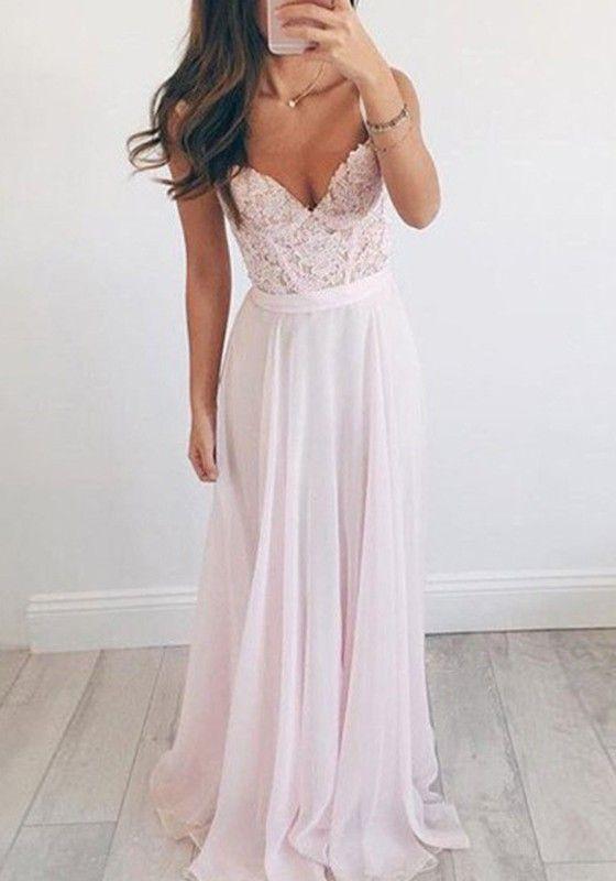 6f1adbb46b5 Robe longue avec dentelle drapé bretelle v-cou élégant bal de soirée rose