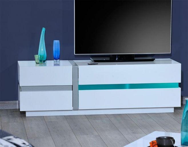 Sciae Cross Modern High Gloss White TV Unit 150cm