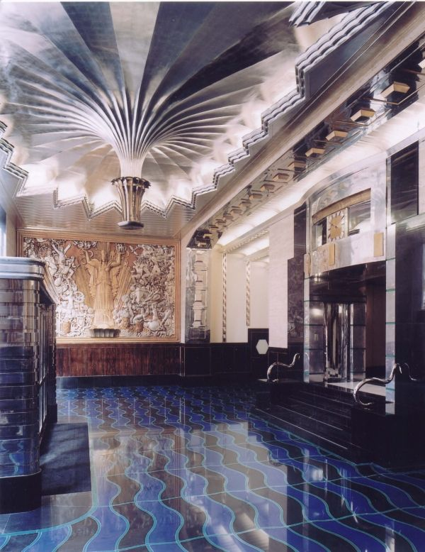 Old photographs were the main source for recreating the entrance hall of the Daily Express building in London 1930 Art Deco style