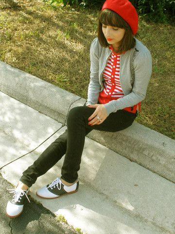 Target Beret, Forever 21 Eiffel Tower Cardigan, Thrifted Striped Shirt, Bullhead Black Jeans, Payless Saddle Shoes - Waldo - Jackie Gasc