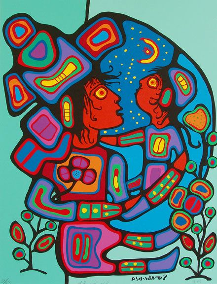 Mother and Child by Norval Morrisseau i like his strong use of colour and the black outlines....and of course his strong voice