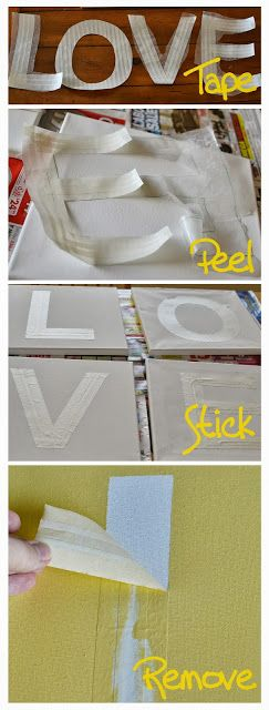 DIY Large Letter Stencils.  All you need is tape and wax paper!
