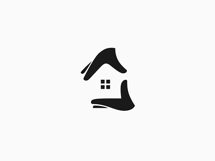 Using negative space to create a house between two hands - such a great idea for a church logo
