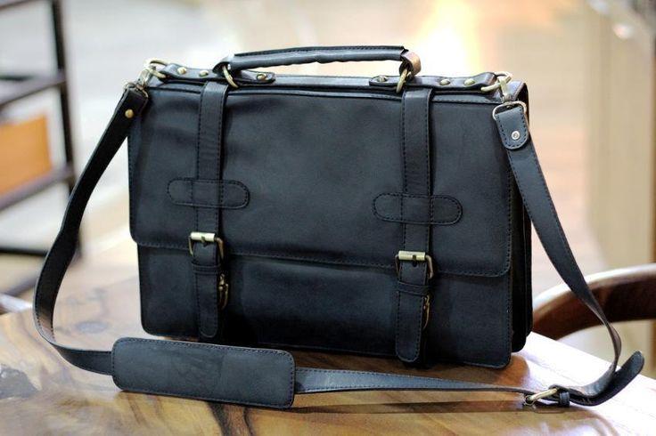 Stylish Vintage Leather Messenger Laptop Bag Unisex Business Briefcase Handbag | eBay